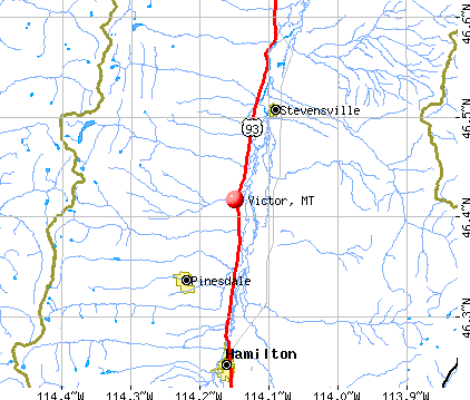 Victor, MT map