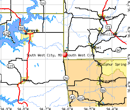 South West City, MO map