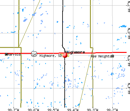 Highmore, SD map