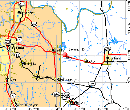 Savoy, TX map