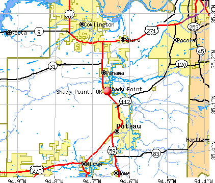 Shady Point, OK map
