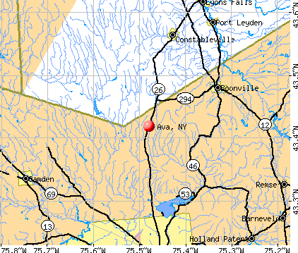 Ava, NY map