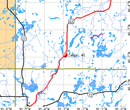 Cable, WI map