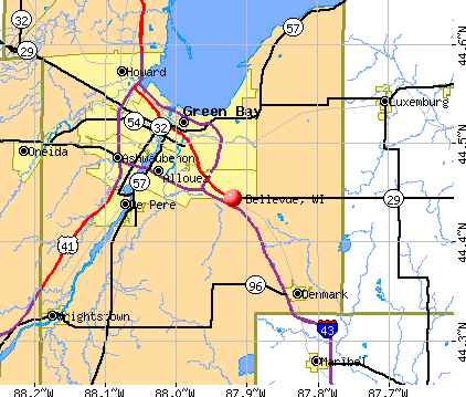 Bellevue, WI map