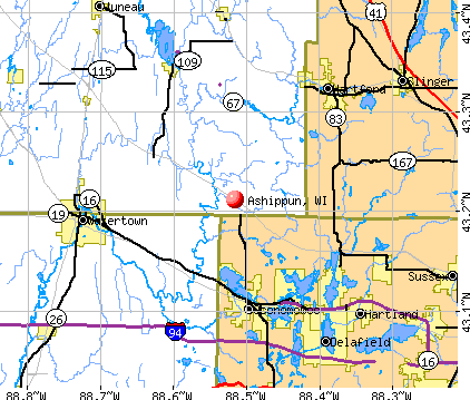 Ashippun, WI map