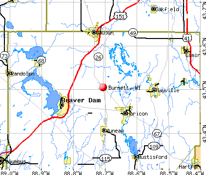 Burnett, WI map