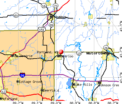 Portland, WI map