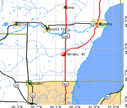Abrams, WI map