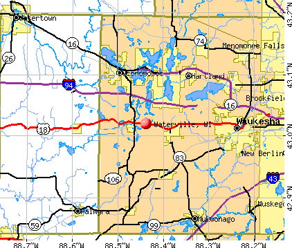 Waterville, WI map