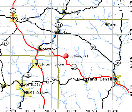 Sylvan, WI map