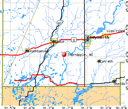 Thornapple, WI map