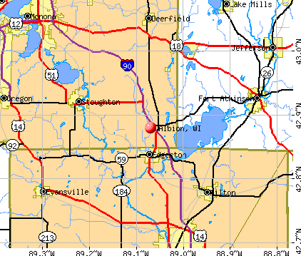 Albion, WI map