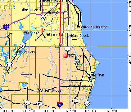 Caledonia, WI map