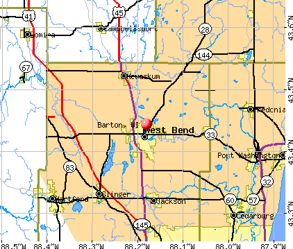 Barton, WI map