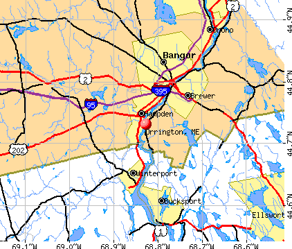 Orrington, ME map