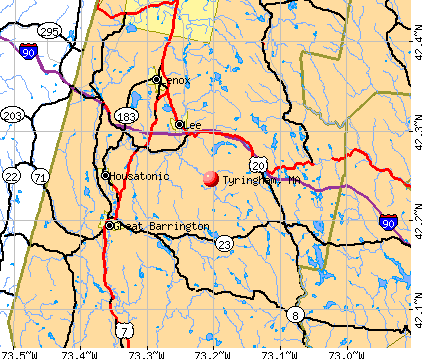Tyringham, MA map