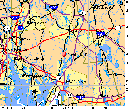 Dighton, MA map