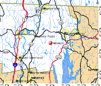 Wendell, MA map