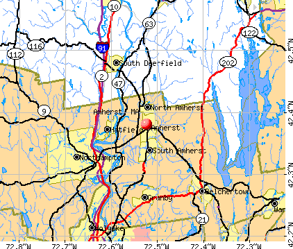 Amherst, MA map