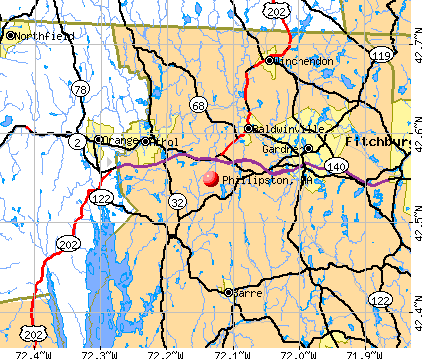 Phillipston, MA map