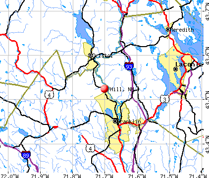 Hill, NH map