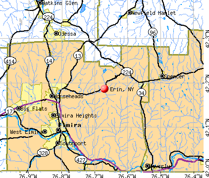 Erin, NY map