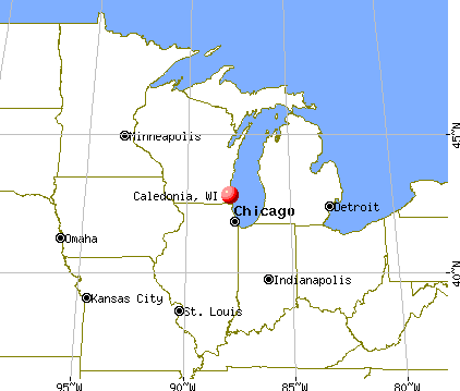 Caledonia, Wisconsin map