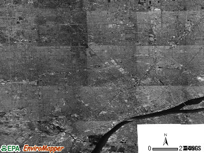 Detroit satellite photo by USGS
