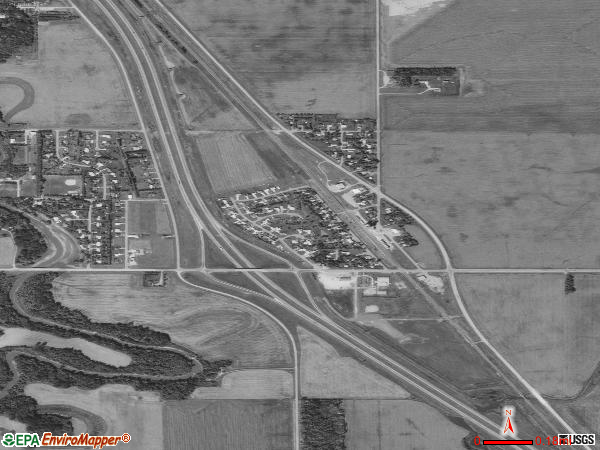 Harwood satellite photo by USGS 
