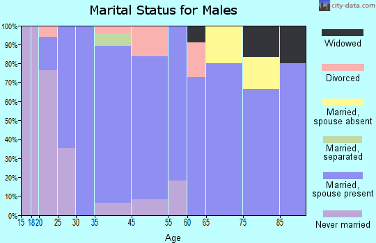 Russellville marital status for males