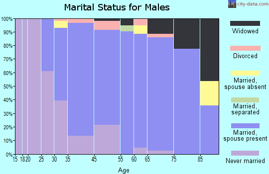 West Bay Shore marital status for males