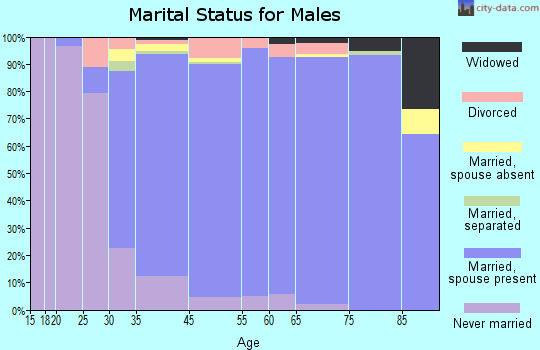 Palos Verdes Estates marital status for males