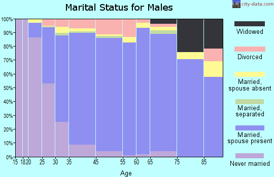East Hill-Meridian marital status for males