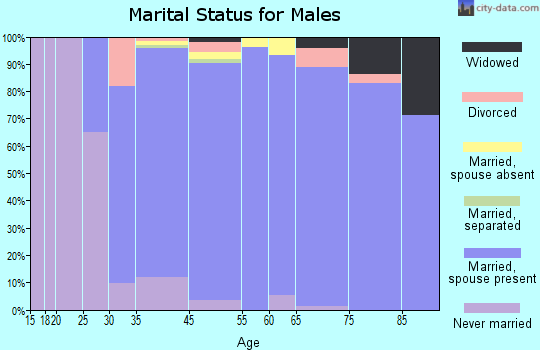 Rolling Hills Estates marital status for males