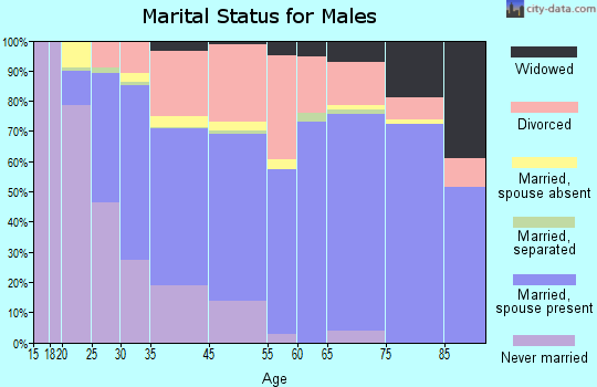 Flowing Wells marital status for males