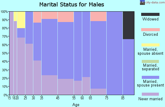 North Vacherie marital status for males