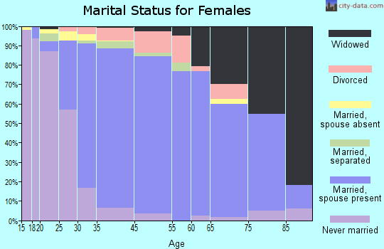 Setauket-East Setauket marital status for females