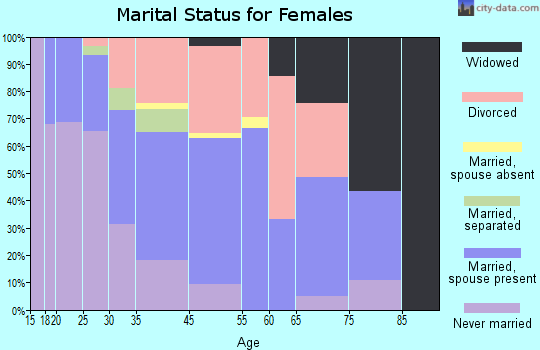 Channel Islands Beach marital status for females