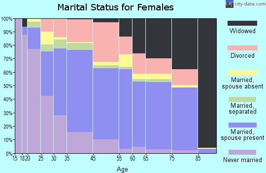 Bryn Mawr-Skyway marital status for females