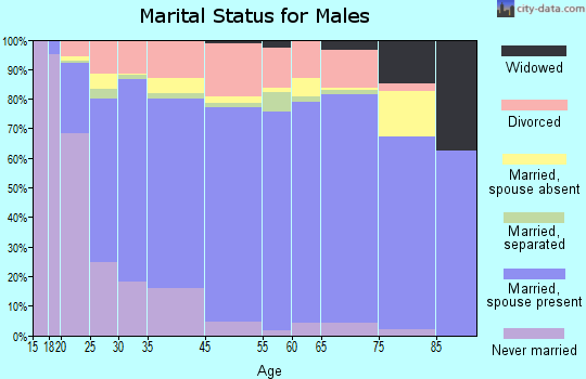 Worcester County marital status for males