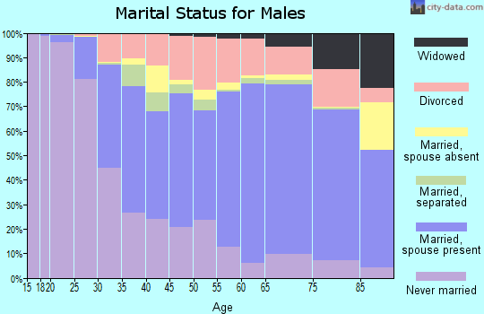 Dare County marital status for males