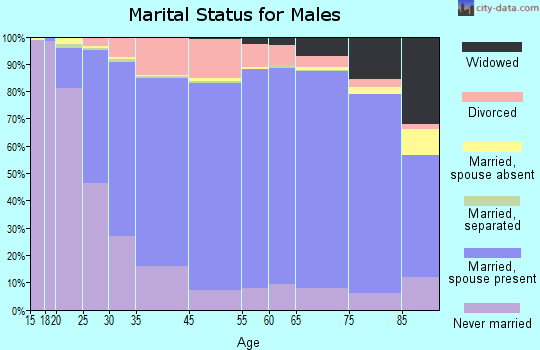 Izard County marital status for males