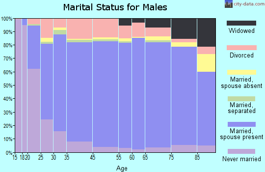 Marathon County marital status for males