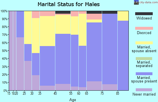 Harvey County marital status for males