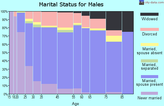 Hall County marital status for males