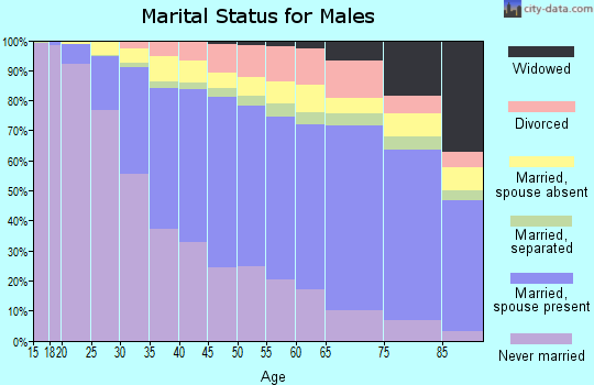 Menominee County marital status for males
