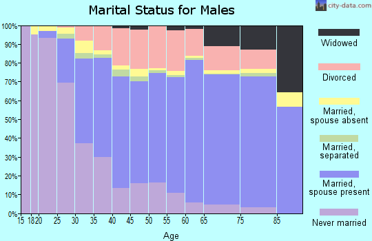 Washburn County marital status for males