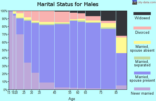 Wood County marital status for males