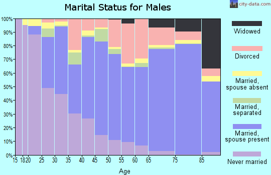 Watauga County marital status for males