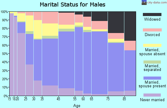 Bandera County marital status for males